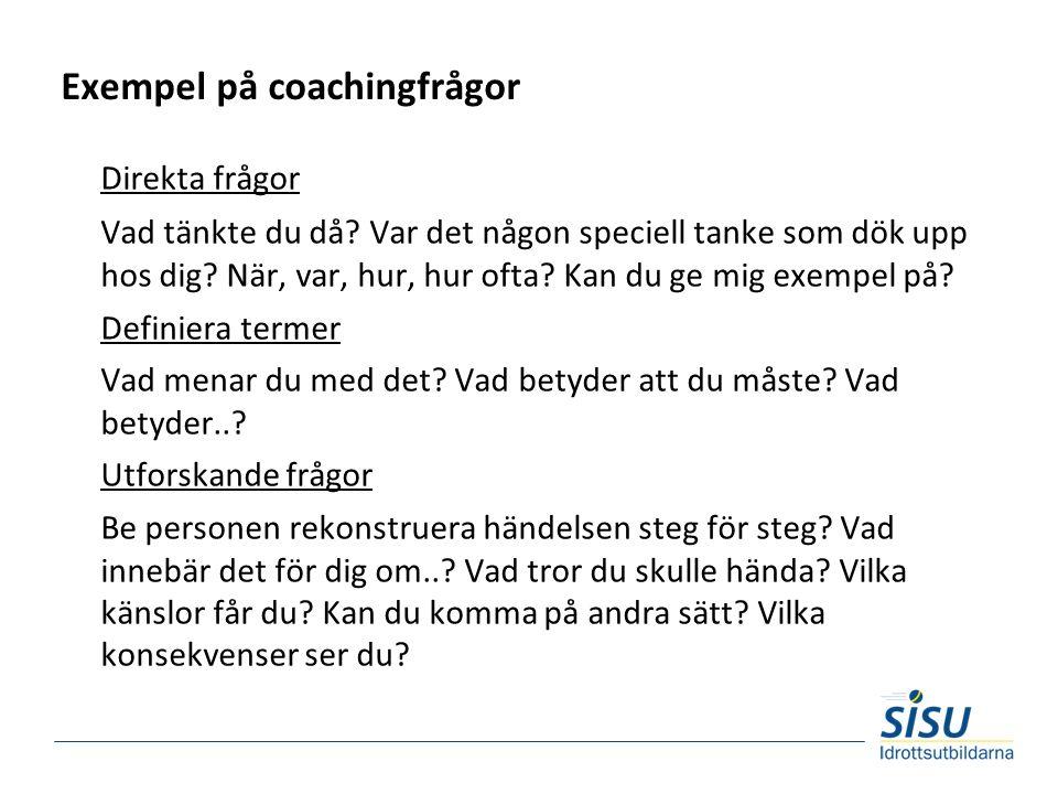 Exempel på coachingfrågor Direkta frågor Vad tänkte du då.