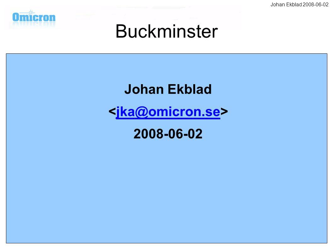 Buckminster Johan Ekblad jka@omicron.se 2008-06-02 Johan Ekblad 2008-06-02
