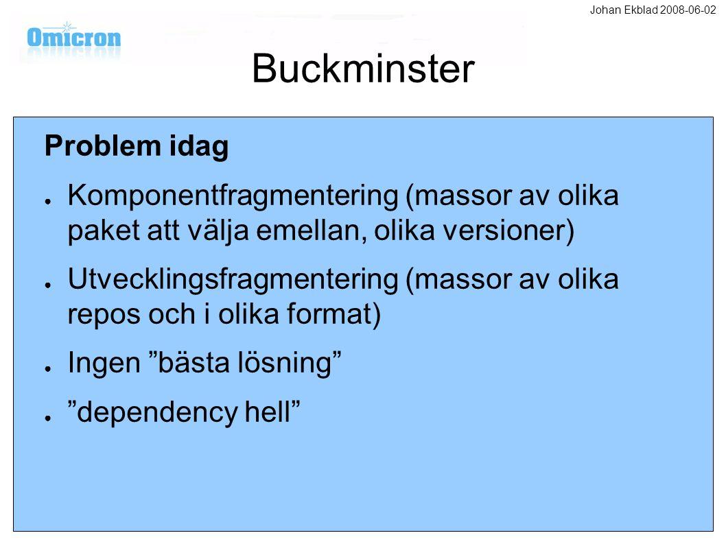 Buckminster Problem idag ● Komponentfragmentering (massor av olika paket att välja emellan, olika versioner) ● Utvecklingsfragmentering (massor av oli