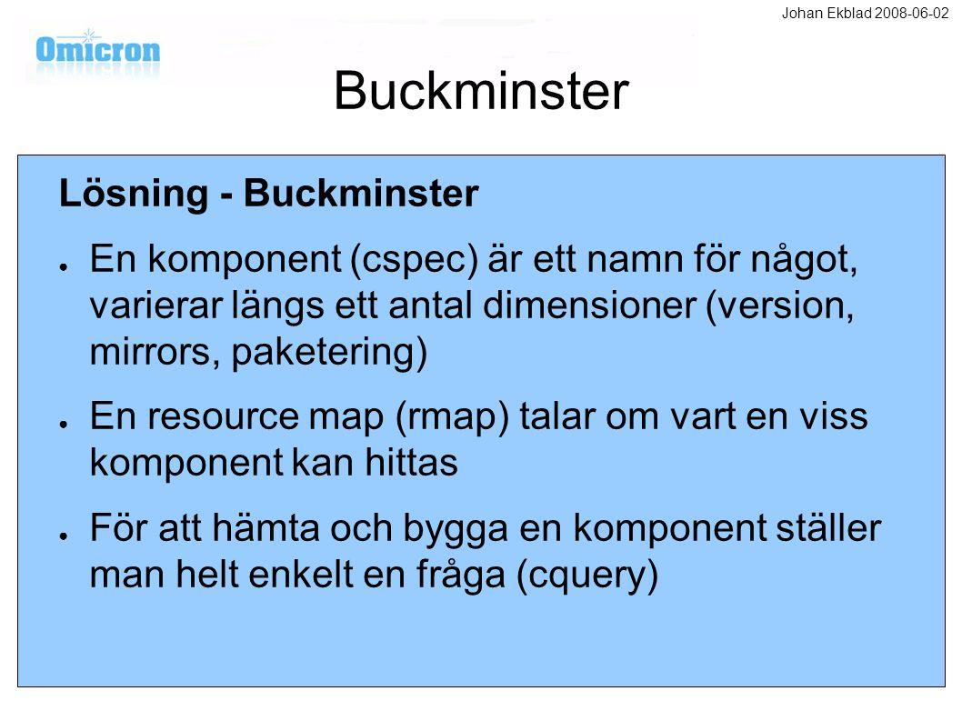 Buckminster Lösning - Buckminster ● En komponent (cspec) är ett namn för något, varierar längs ett antal dimensioner (version, mirrors, paketering) ● En resource map (rmap) talar om vart en viss komponent kan hittas ● För att hämta och bygga en komponent ställer man helt enkelt en fråga (cquery) Johan Ekblad 2008-06-02