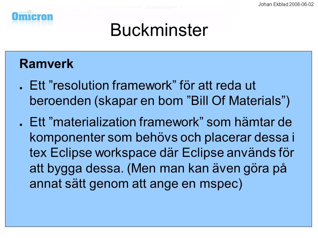 Buckminster Ramverk ● Ett resolution framework för att reda ut beroenden (skapar en bom Bill Of Materials ) ● Ett materialization framework som hämtar de komponenter som behövs och placerar dessa i tex Eclipse workspace där Eclipse används för att bygga dessa.