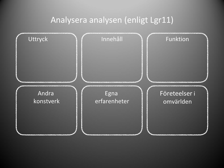 Analysera analysen (enligt Lgr11) UttryckInnehållFunktion Egna erfarenheter Andra konstverk Företeelser i omvärlden