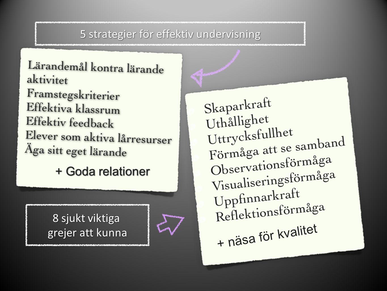 5 strategier för effektiv undervisning 8 sjukt viktiga grejer att kunna + näsa för kvalitet + Goda relationer