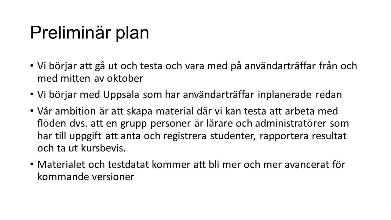 Preliminär plan Vi börjar att gå ut och testa och vara med på användarträffar från och med mitten av oktober Vi börjar med Uppsala som har användarträffar inplanerade redan Vår ambition är att skapa material där vi kan testa att arbeta med flöden dvs.