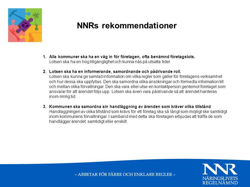 NNRs rekommendationer 1.Alla kommuner ska ha en väg in för företagen, ofta benämnd företagslots.