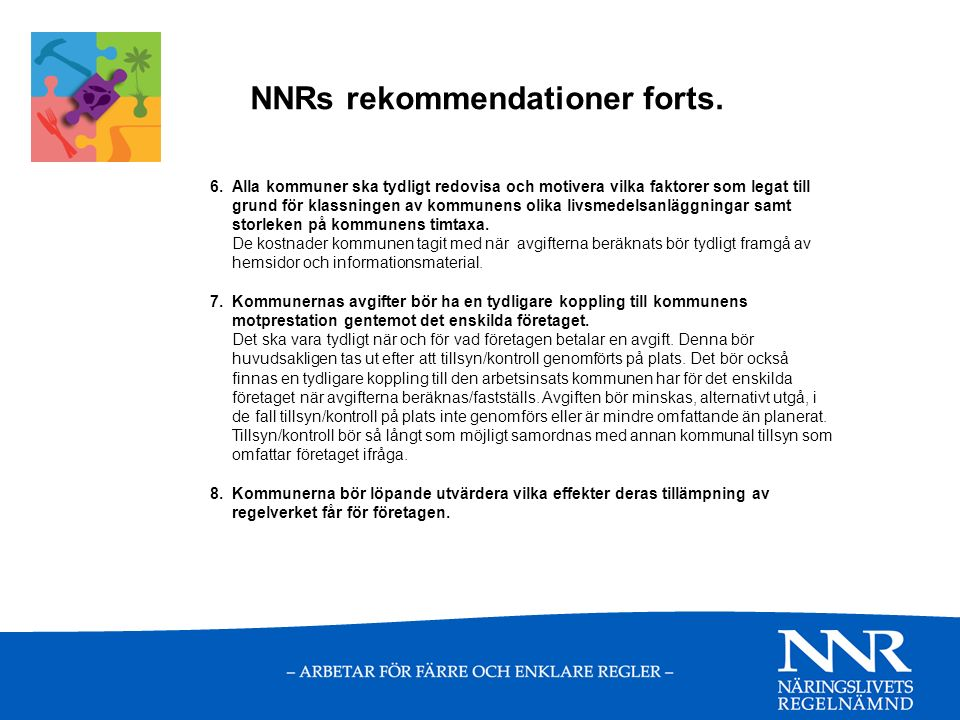 NNRs rekommendationer forts. 6.