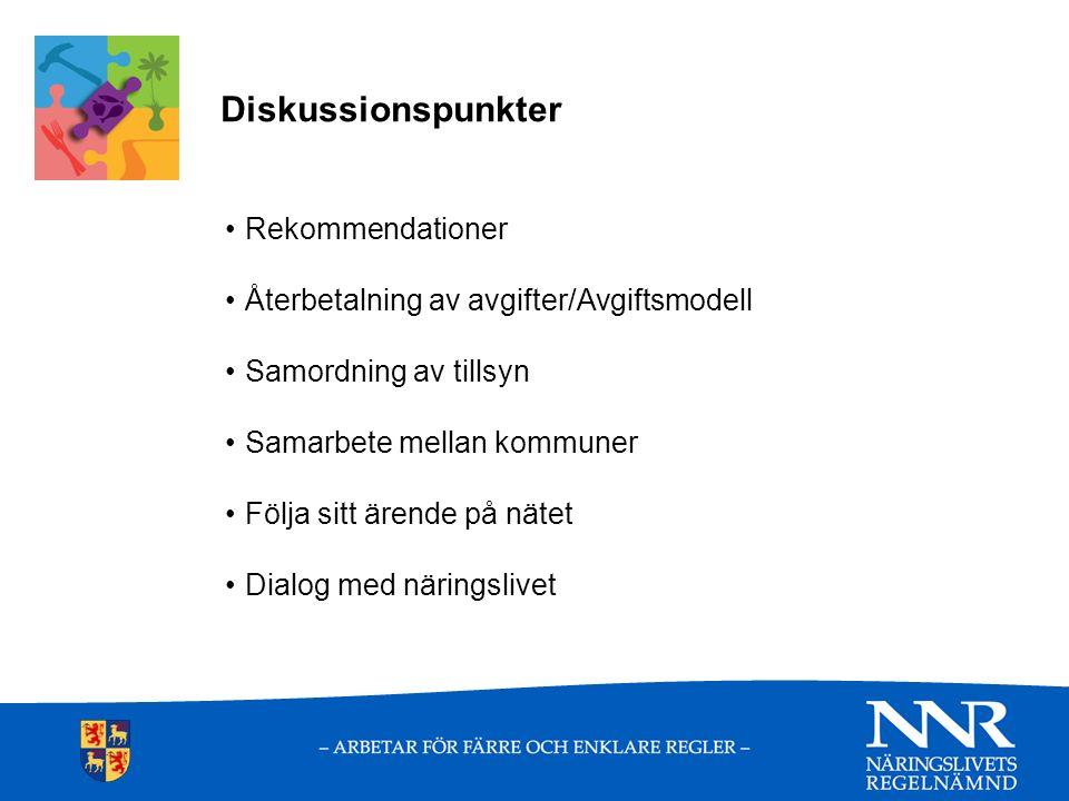 Diskussionspunkter Rekommendationer Återbetalning av avgifter/Avgiftsmodell Samordning av tillsyn Samarbete mellan kommuner Följa sitt ärende på nätet Dialog med näringslivet