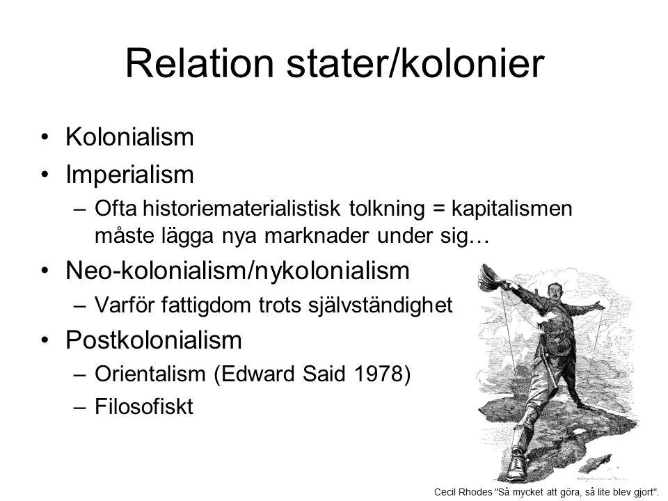 Relation stater/kolonier Kolonialism Imperialism –Ofta historiematerialistisk tolkning = kapitalismen måste lägga nya marknader under sig… Neo-kolonialism/nykolonialism –Varför fattigdom trots självständighet Postkolonialism –Orientalism (Edward Said 1978) –Filosofiskt Cecil Rhodes Så mycket att göra, så lite blev gjort .
