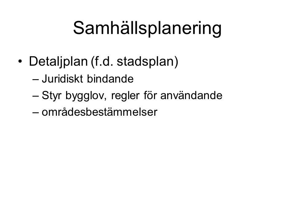 Samhällsplanering Detaljplan (f.d. stadsplan) –Juridiskt bindande –Styr bygglov, regler för användande –områdesbestämmelser