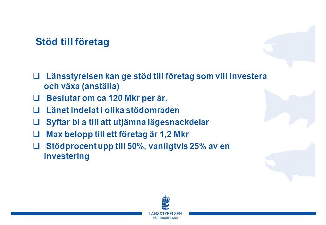 Stöd till företag  Länsstyrelsen kan ge stöd till företag som vill investera och växa (anställa)  Beslutar om ca 120 Mkr per år.
