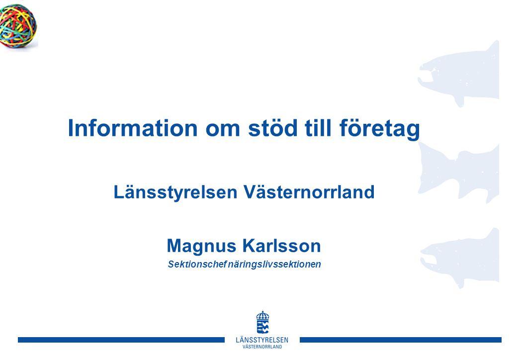 Information om stöd till företag Länsstyrelsen Västernorrland Magnus Karlsson Sektionschef näringslivssektionen