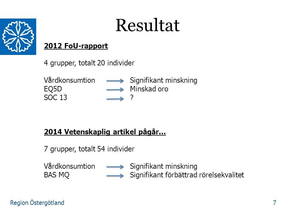 Region Östergötland 7 Resultat 2012 FoU-rapport 4 grupper, totalt 20 individer VårdkonsumtionSignifikant minskning EQ5DMinskad oro SOC 13.
