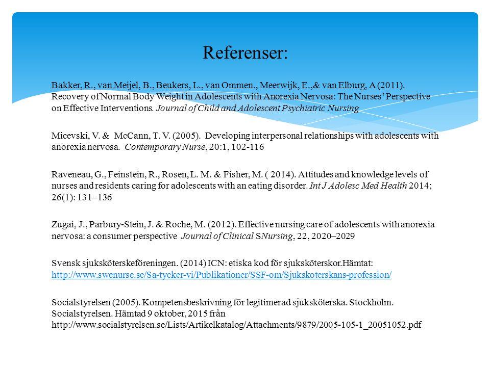 Bakker, R., van Meijel, B., Beukers, L., van Ommen., Meerwijk, E.,& van Elburg, A (2011). Recovery of Normal Body Weight in Adolescents with Anorexia
