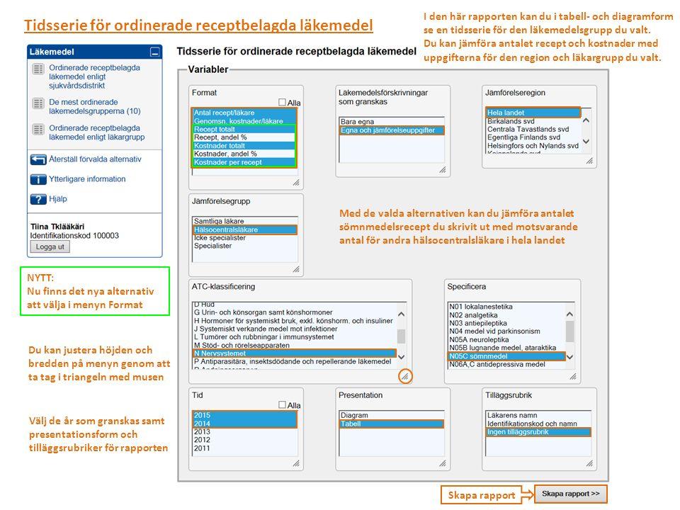 Skapa rapport Tidsserie för ordinerade receptbelagda läkemedel I den här rapporten kan du i tabell- och diagramform se en tidsserie för den läkemedelsgrupp du valt.