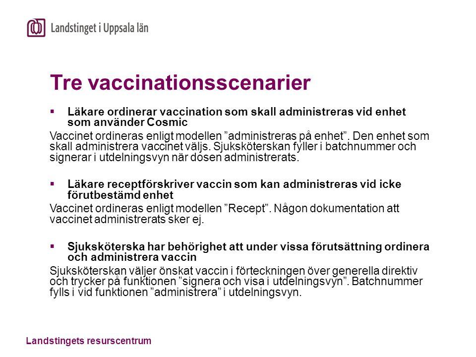Landstingets resurscentrum Tre vaccinationsscenarier  Läkare ordinerar vaccination som skall administreras vid enhet som använder Cosmic Vaccinet ordineras enligt modellen administreras på enhet .