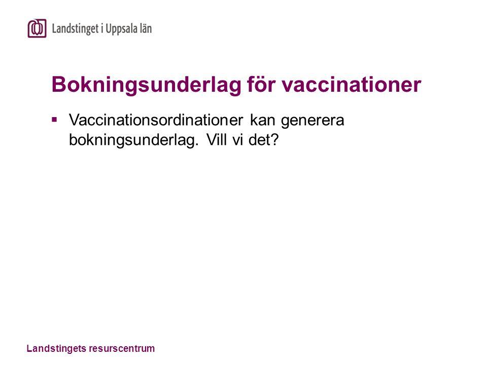 Landstingets resurscentrum Bokningsunderlag för vaccinationer  Vaccinationsordinationer kan generera bokningsunderlag.