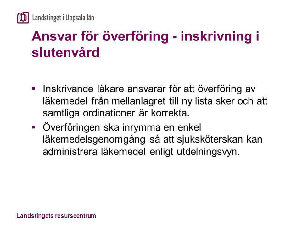 Landstingets resurscentrum Nyheter i läkemedelsmodulen som påverkar verksamheten  Modulen är helt ny.