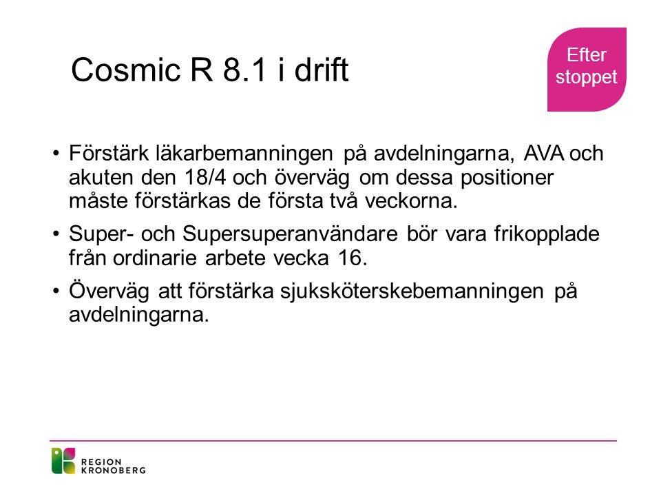 Cosmic R 8.1 i drift Förstärk läkarbemanningen på avdelningarna, AVA och akuten den 18/4 och överväg om dessa positioner måste förstärkas de första två veckorna.