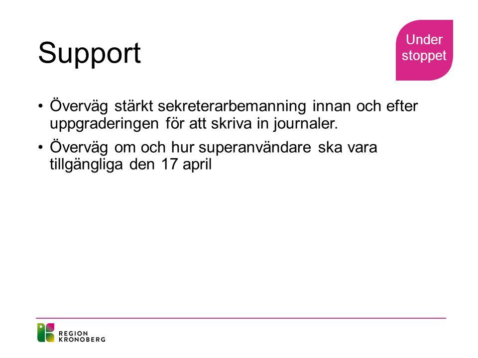 Support Överväg stärkt sekreterarbemanning innan och efter uppgraderingen för att skriva in journaler.