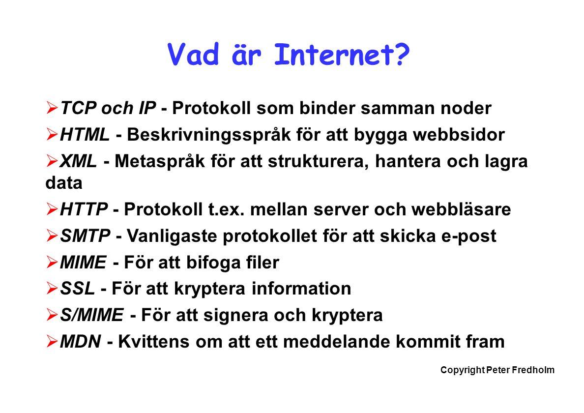 Copyright Peter Fredholm Vad är Internet.