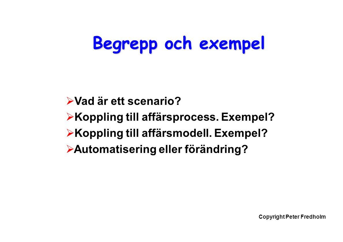 Copyright Peter Fredholm Begrepp och exempel  Vad är ett scenario.