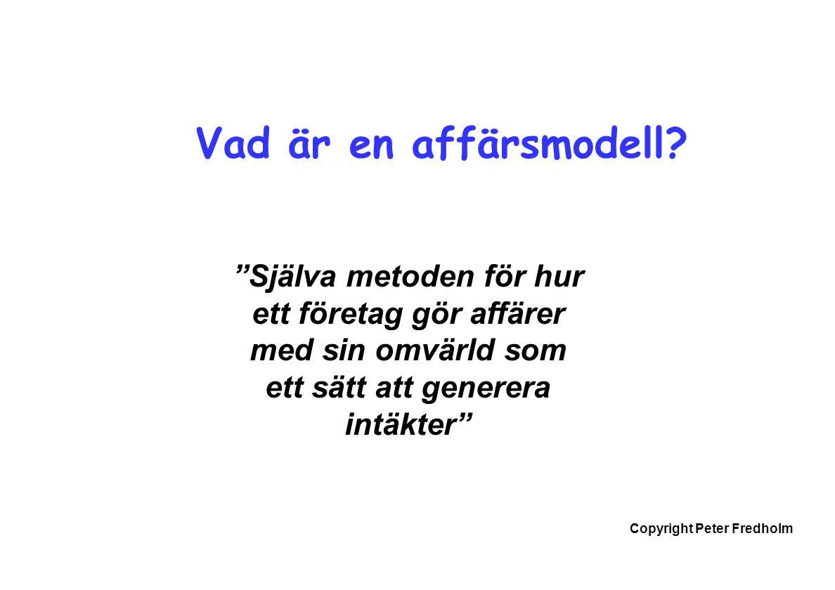 Copyright Peter Fredholm Vad är en affärsmodell.
