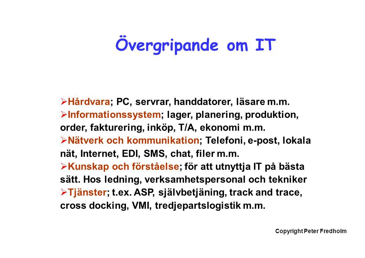 Copyright Peter Fredholm Övergripande om IT  Hårdvara; PC, servrar, handdatorer, läsare m.m.