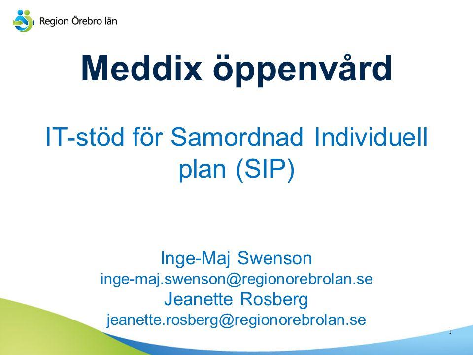 Meddix öppenvård IT-stöd för Samordnad Individuell plan (SIP) Inge-Maj Swenson inge-maj.swenson@regionorebrolan.se Jeanette Rosberg jeanette.rosberg@regionorebrolan.se 1