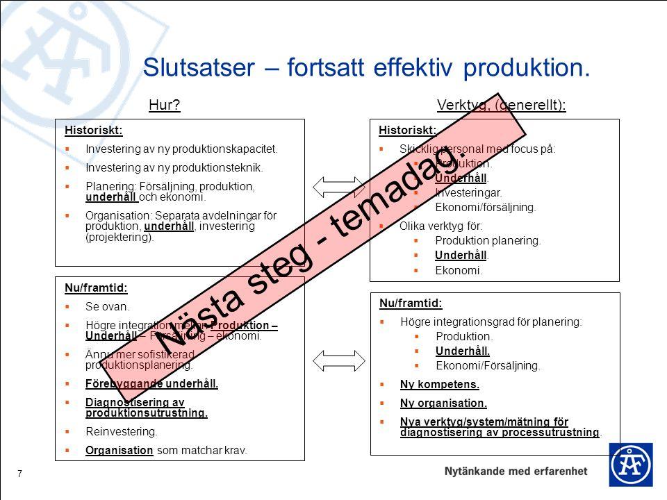 7 Slutsatser – fortsatt effektiv produktion. Historiskt:  Investering av ny produktionskapacitet.