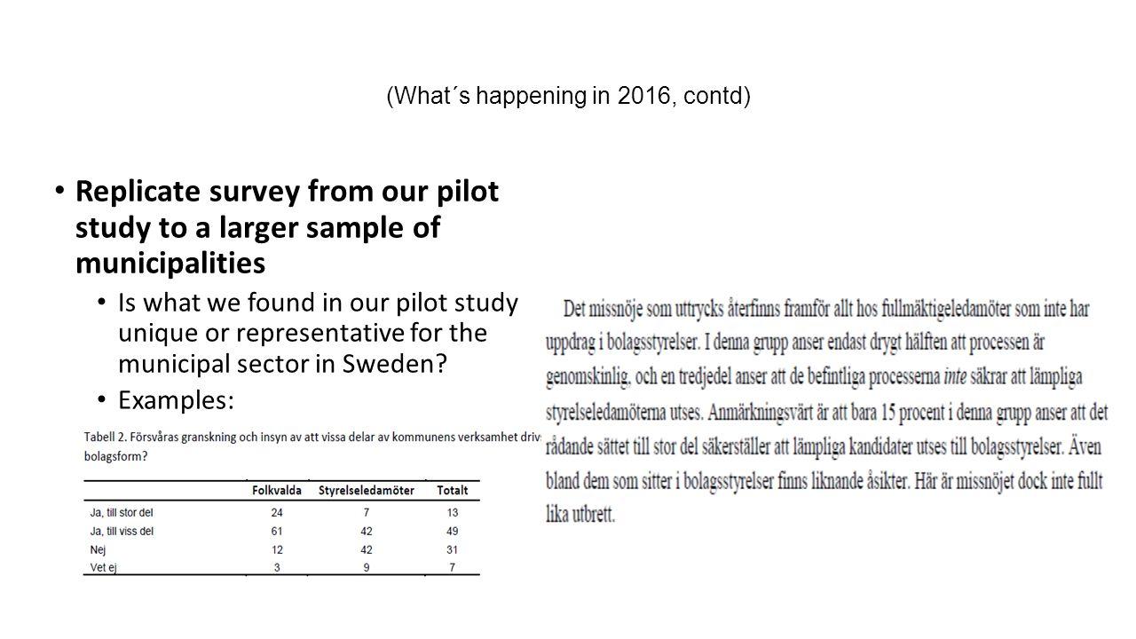 Replicate stress-tests of Hyltner & Velasco (2009) + SOU 2011:43 Hyltner & Velasco endast ett av tre undersökta kommunala bolag uppfyllde sina grundlagsstadgade förpliktelser att lämna ut allmänna handlingar SOU 2011:43 Utredningen bedömer att kommunala bolag inte i tillräcklig grad synes efterleva det krav på skyndsamhet som gäller då en person begär att få del av allmän handling