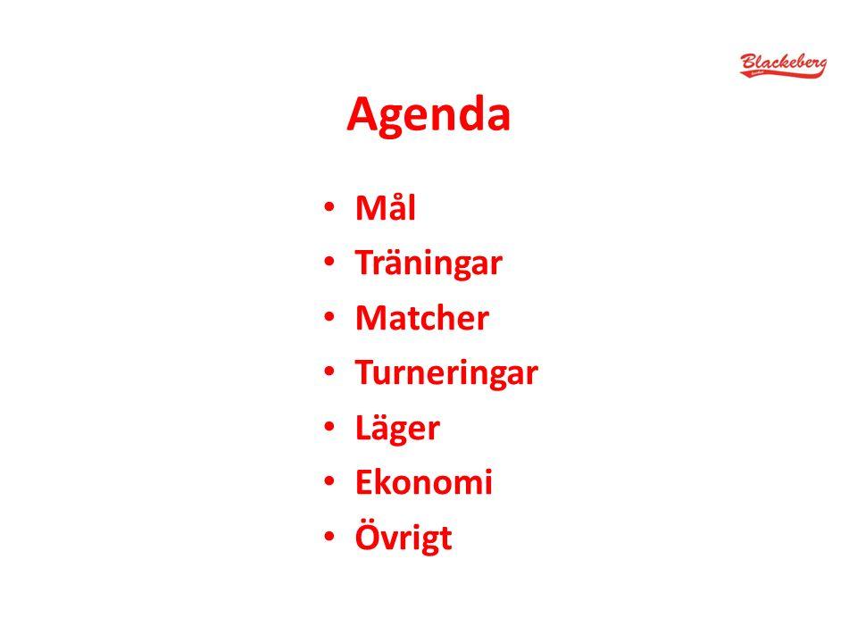 Agenda Mål Träningar Matcher Turneringar Läger Ekonomi Övrigt