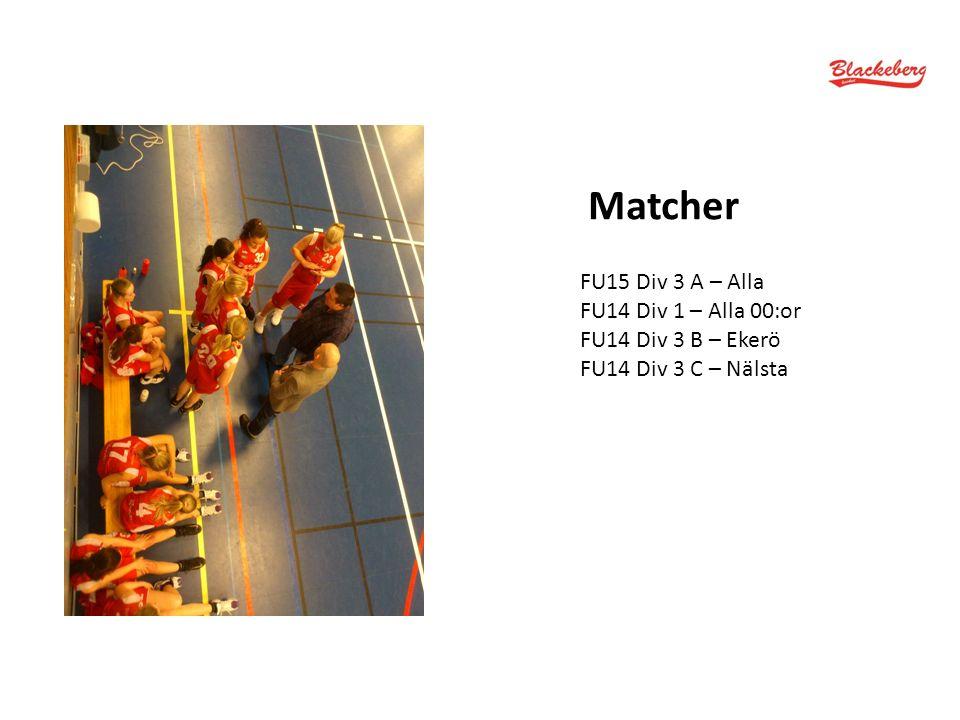 Matcher FU15 Div 3 A – Alla FU14 Div 1 – Alla 00:or FU14 Div 3 B – Ekerö FU14 Div 3 C – Nälsta