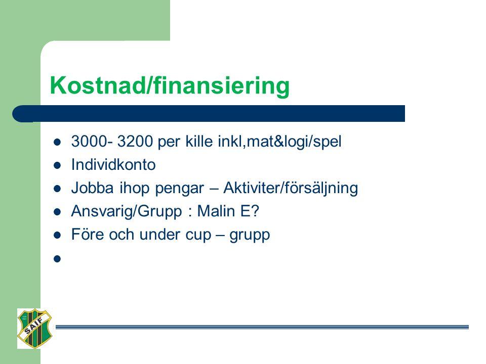 Kostnad/finansiering 3000- 3200 per kille inkl,mat&logi/spel Individkonto Jobba ihop pengar – Aktiviter/försäljning Ansvarig/Grupp : Malin E.