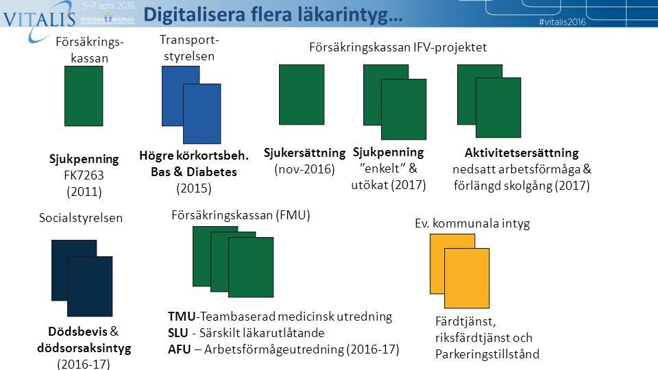17 Försäkrings- kassan Transport- styrelsen Sjukpenning FK7263 (2011) Högre körkortsbeh. Bas & Diabetes (2015) Sjukersättning (nov-2016) Försäkringska