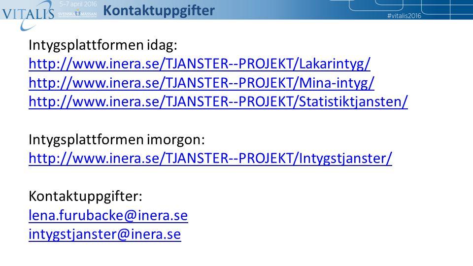 Kontaktuppgifter Intygsplattformen idag: http://www.inera.se/TJANSTER--PROJEKT/Lakarintyg/ http://www.inera.se/TJANSTER--PROJEKT/Mina-intyg/ http://ww