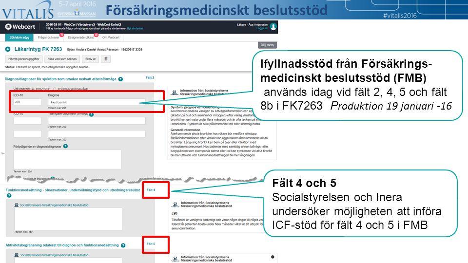 6 Fält 4 och 5 Socialstyrelsen och Inera undersöker möjligheten att införa ICF-stöd för fält 4 och 5 i FMB Försäkringsmedicinskt beslutsstöd Ifyllnadsstöd från Försäkrings- medicinskt beslutsstöd (FMB) används idag vid fält 2, 4, 5 och fält 8b i FK7263 P roduktion 19 januari -16