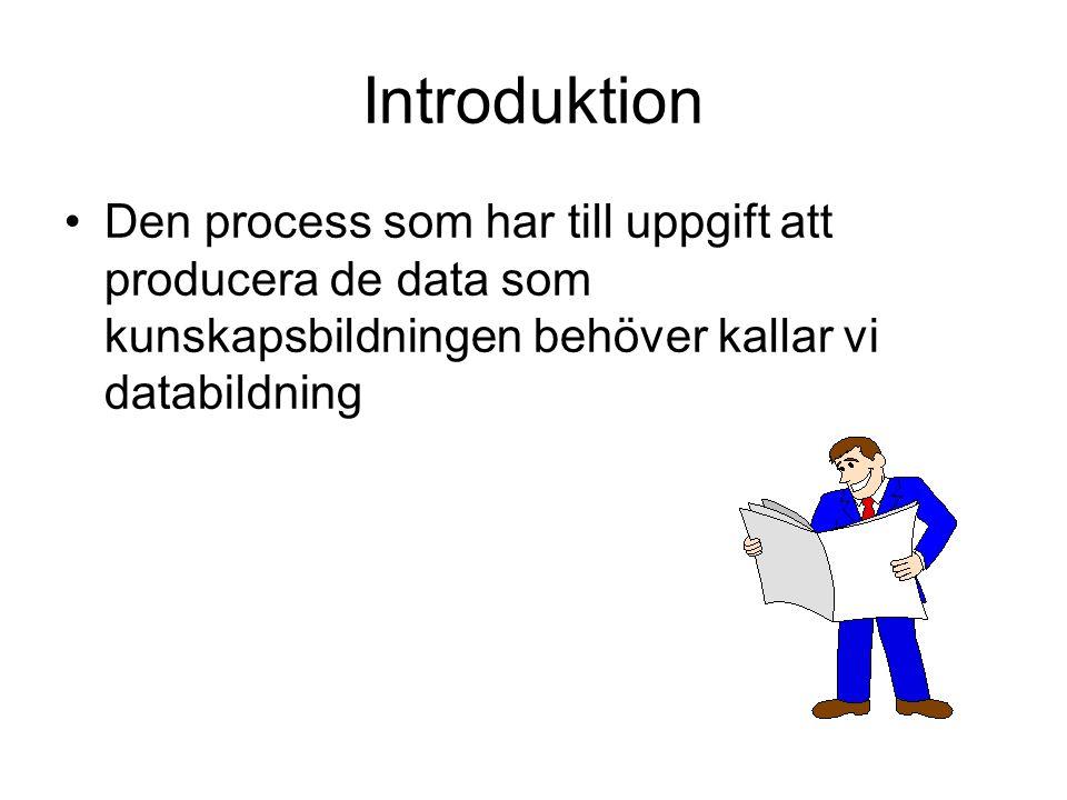 Introduktion Den process som har till uppgift att producera de data som kunskapsbildningen behöver kallar vi databildning