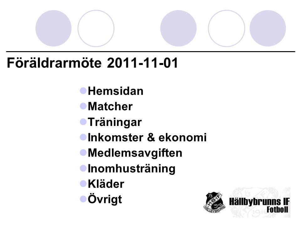 Föräldrarmöte 2011-11-01 Hemsidan Matcher Träningar Inkomster & ekonomi Medlemsavgiften Inomhusträning Kläder Övrigt