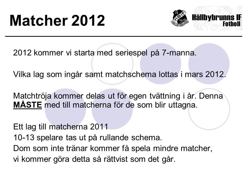 Matcher 2012 2012 kommer vi starta med seriespel på 7-manna. Vilka lag som ingår samt matchschema lottas i mars 2012. Matchtröja kommer delas ut för e