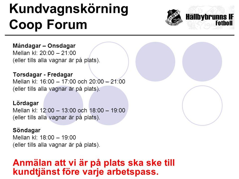 Kundvagnskörning Coop Forum Måndagar – Onsdagar Mellan kl: 20:00 – 21:00 (eller tills alla vagnar är på plats). Torsdagar - Fredagar Mellan kl: 16:00