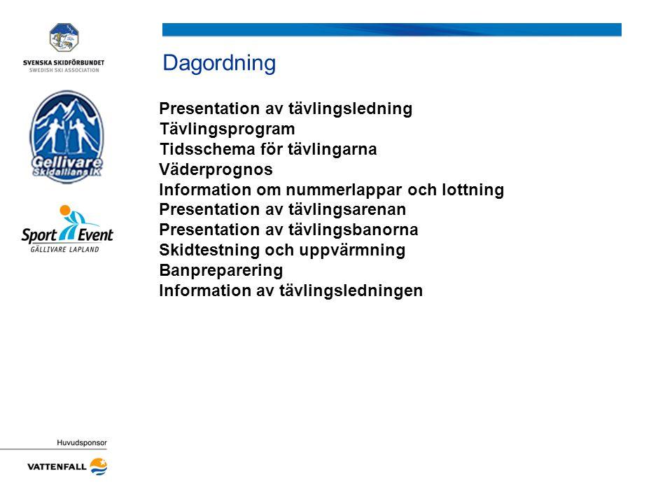 Presentation av tävlingsledning TÄVLINGSLEDNING Tävlingsledare:Anders Strid Ass.