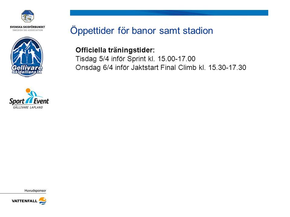 Tidsschema för tävlingarna Tisdag 5 April D/H 21 Prolog Start kl.