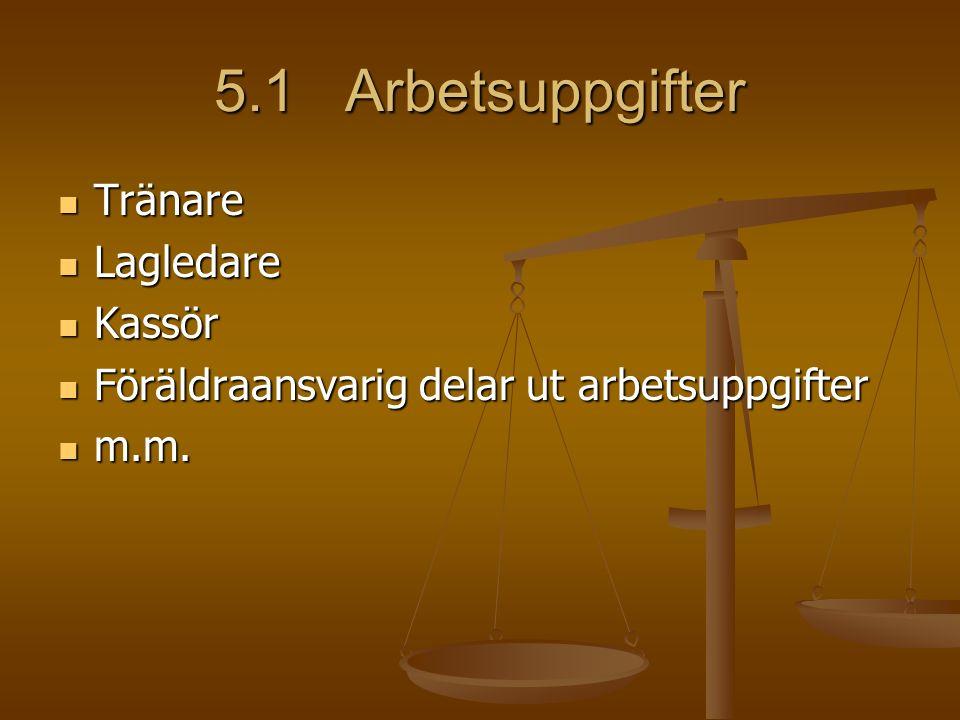 5.1 Arbetsuppgifter Tränare Tränare Lagledare Lagledare Kassör Kassör Föräldraansvarig delar ut arbetsuppgifter Föräldraansvarig delar ut arbetsuppgifter m.m.
