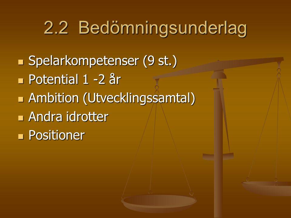 2.2 Bedömningsunderlag Spelarkompetenser (9 st.) Spelarkompetenser (9 st.) Potential 1 -2 år Potential 1 -2 år Ambition (Utvecklingssamtal) Ambition (Utvecklingssamtal) Andra idrotter Andra idrotter Positioner Positioner