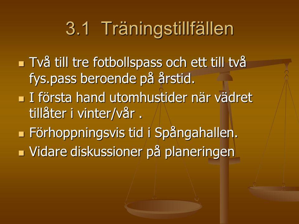 3.1 Träningstillfällen Två till tre fotbollspass och ett till två fys.pass beroende på årstid.
