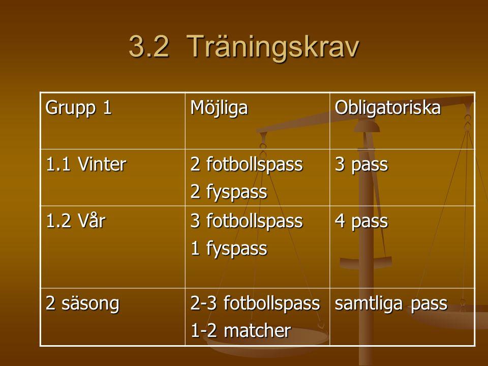 3.2 Träningskrav Grupp 1 MöjligaObligatoriska 1.1 Vinter 2 fotbollspass 2 fyspass 3 pass 1.2 Vår 3 fotbollspass 1 fyspass 4 pass 2 säsong 2-3 fotbollspass 1-2 matcher samtliga pass