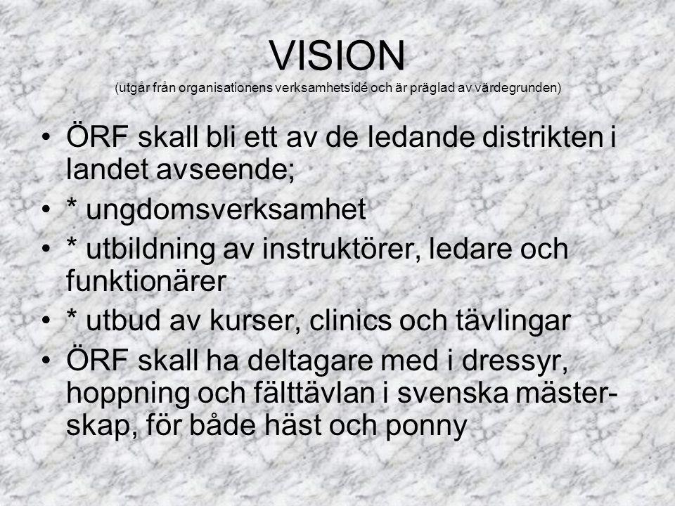 ÖRF skall bli ett av de ledande distrikten i landet avseende; * ungdomsverksamhet * utbildning av instruktörer, ledare och funktionärer * utbud av kurser, clinics och tävlingar ÖRF skall ha deltagare med i dressyr, hoppning och fälttävlan i svenska mäster- skap, för både häst och ponny VISION (utgår från organisationens verksamhetsidé och är präglad av värdegrunden)