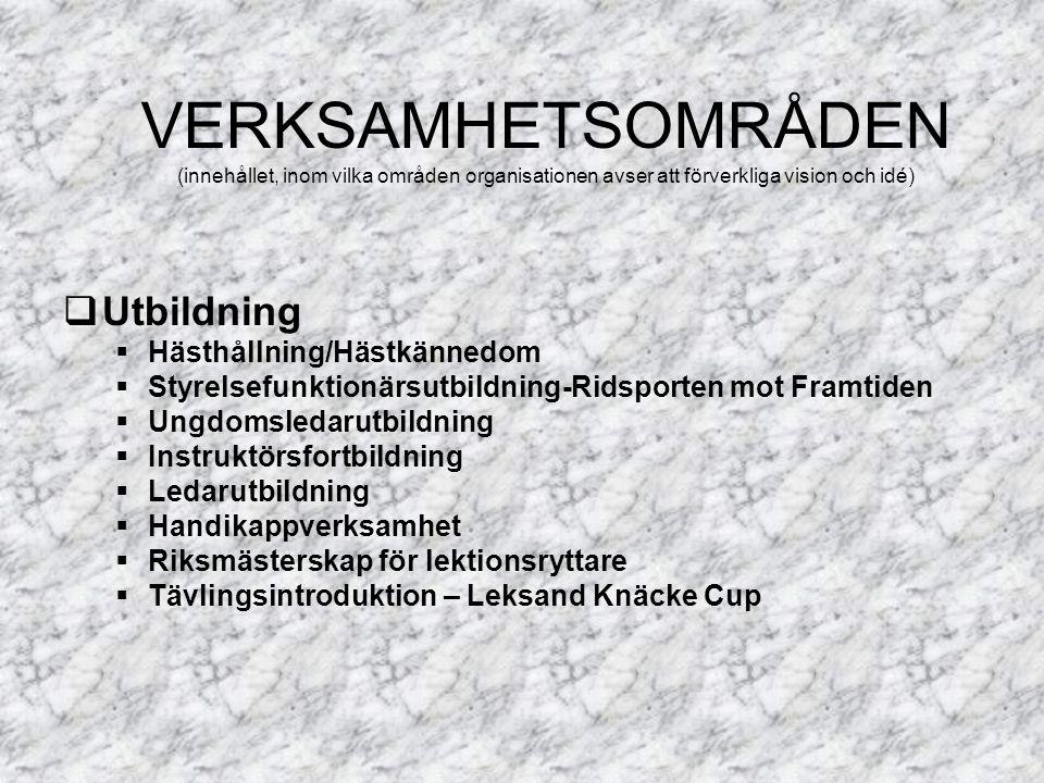 Utbildning  Hästhållning/Hästkännedom  Styrelsefunktionärsutbildning-Ridsporten mot Framtiden  Ungdomsledarutbildning  Instruktörsfortbildning  Ledarutbildning  Handikappverksamhet  Riksmästerskap för lektionsryttare  Tävlingsintroduktion – Leksand Knäcke Cup VERKSAMHETSOMRÅDEN (innehållet, inom vilka områden organisationen avser att förverkliga vision och idé)