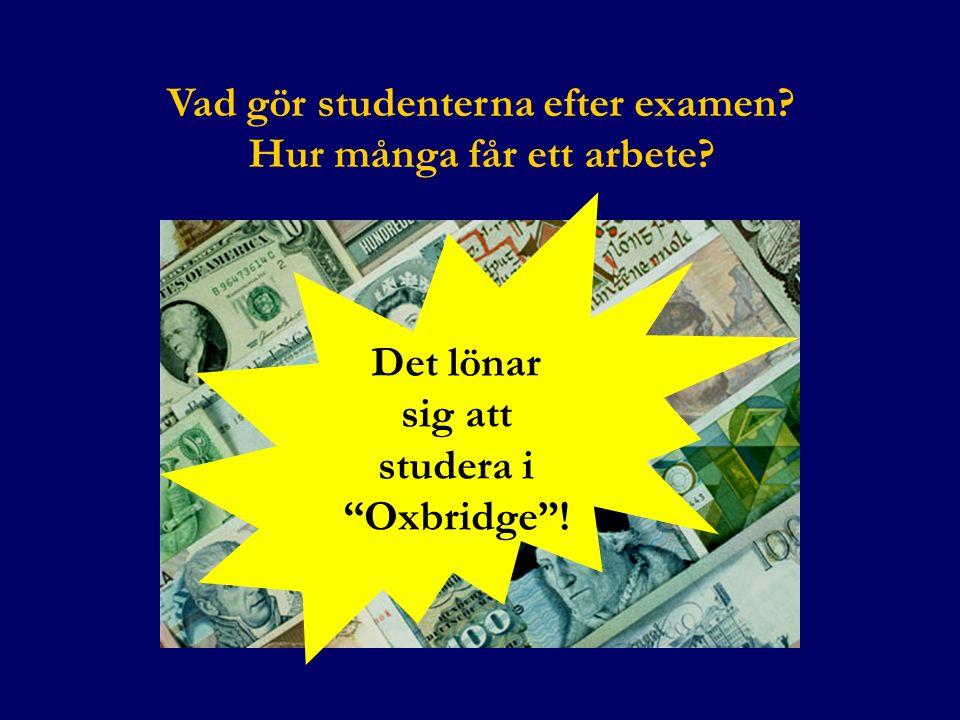 Vad gör studenterna efter examen? Hur många får ett arbete? Det lönar sig att studera i Oxbridge !