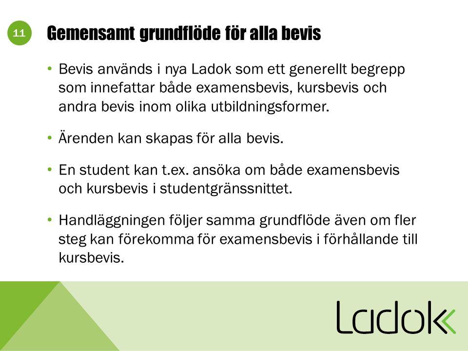 11 Gemensamt grundflöde för alla bevis Bevis används i nya Ladok som ett generellt begrepp som innefattar både examensbevis, kursbevis och andra bevis inom olika utbildningsformer.